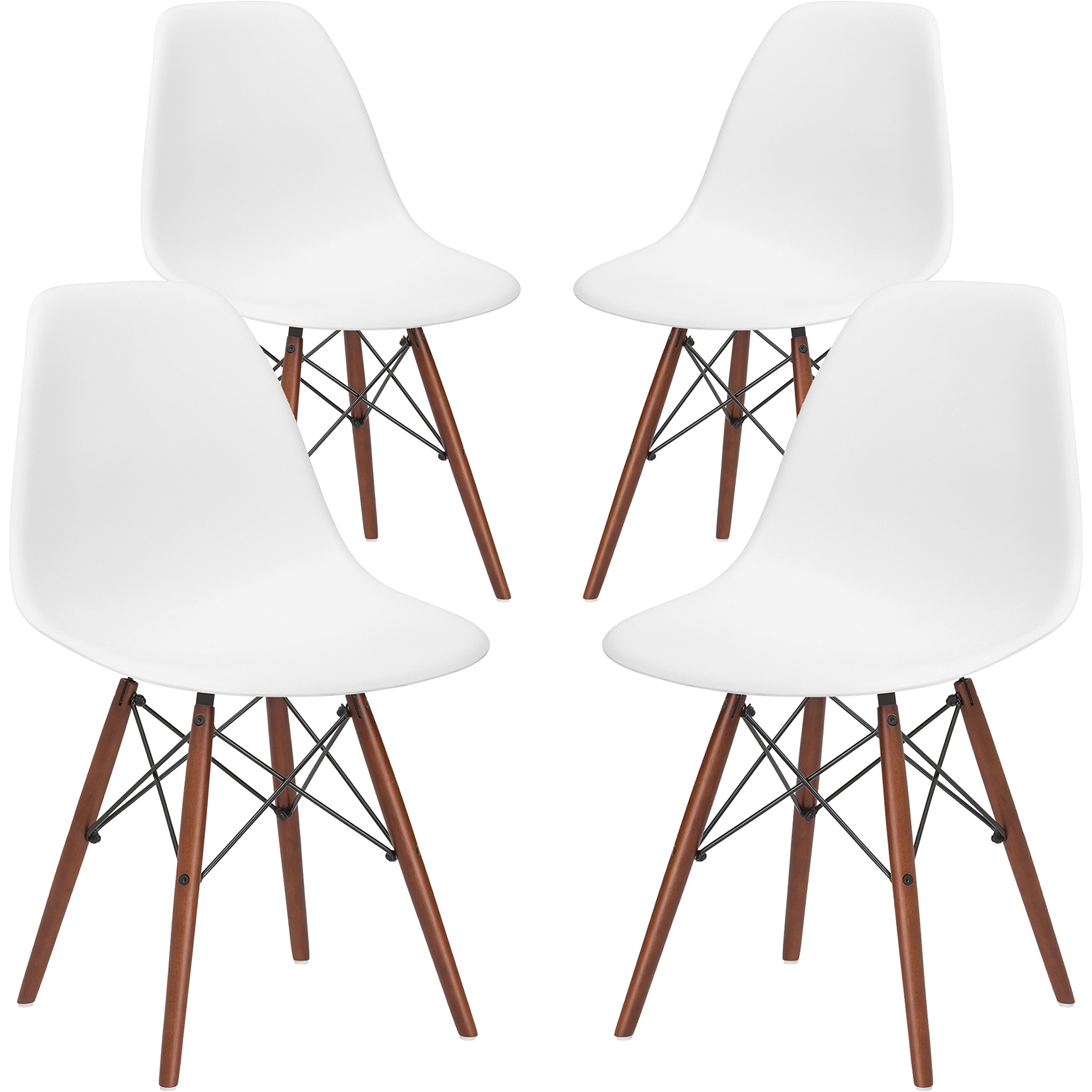 Poly and Bark Vortex Modern Mid-Century Side Chair with Wooden Walnut Legs for Kitchen, Living Room and Dining Room, White (Set of 4) by POLY & BARK