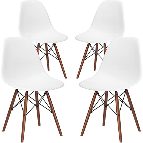 Poly and Bark Vortex Modern Mid-Century Side Chair with Wooden Walnut Legs for Kitchen, Living Room and Dining Room, White Set of 4