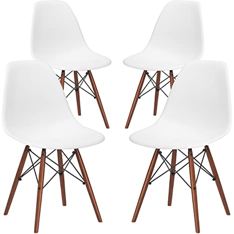 Phenomenal Poly And Bark Vortex Modern Mid Century Side Chair With Wooden Walnut Legs For Kitchen Living Room And Dining Room White Set Of 4 Short Links Chair Design For Home Short Linksinfo