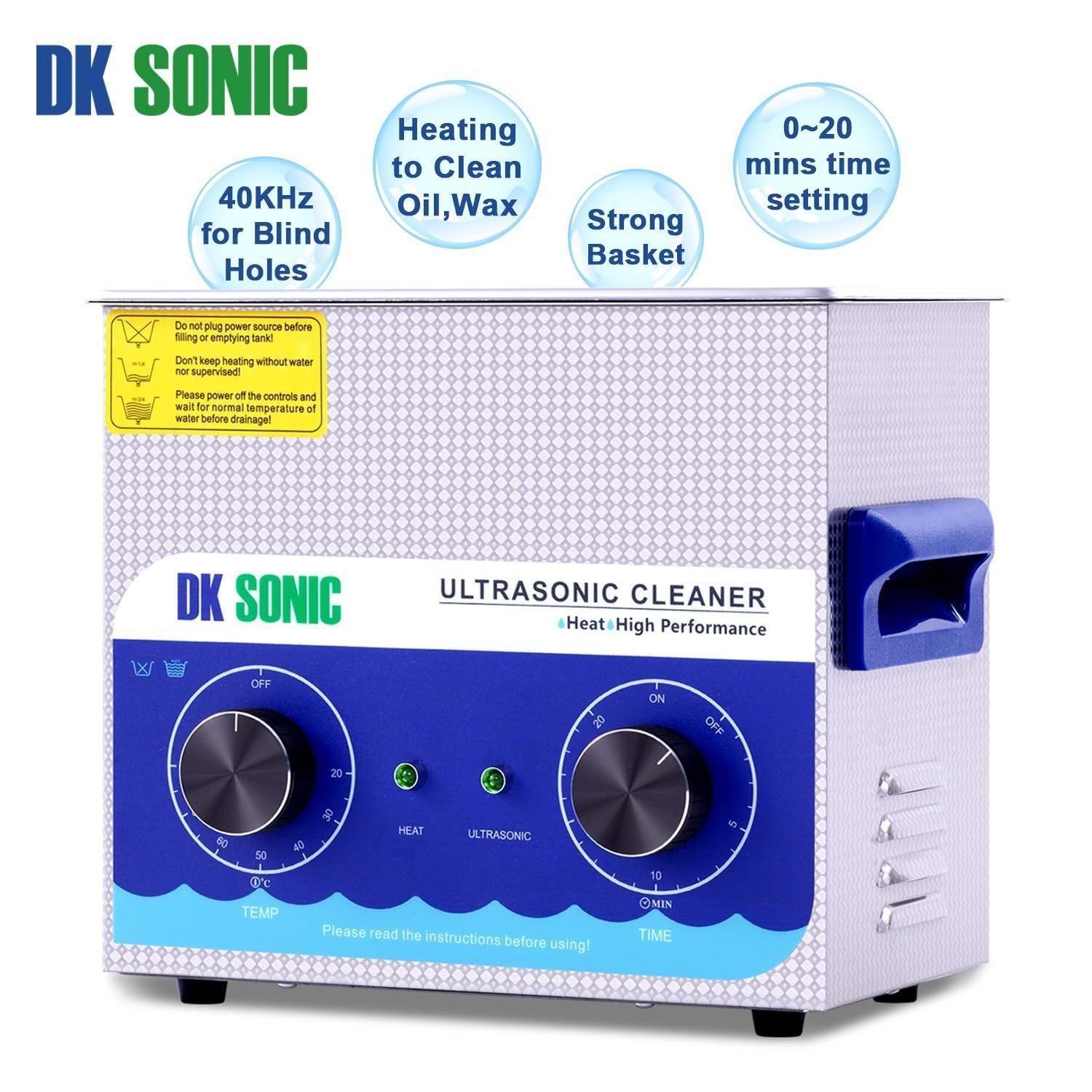 Commercial Ultrasonic Gun Cleaner Heated - DK SONIC 3L 120W Ultrasonic Jewelry Cleaner with Heater Basket for Parts Denture Carburetor Eyeglass Fuel Injector Record Circuit Board Dental 40KHz by DK SONIC (Image #3)