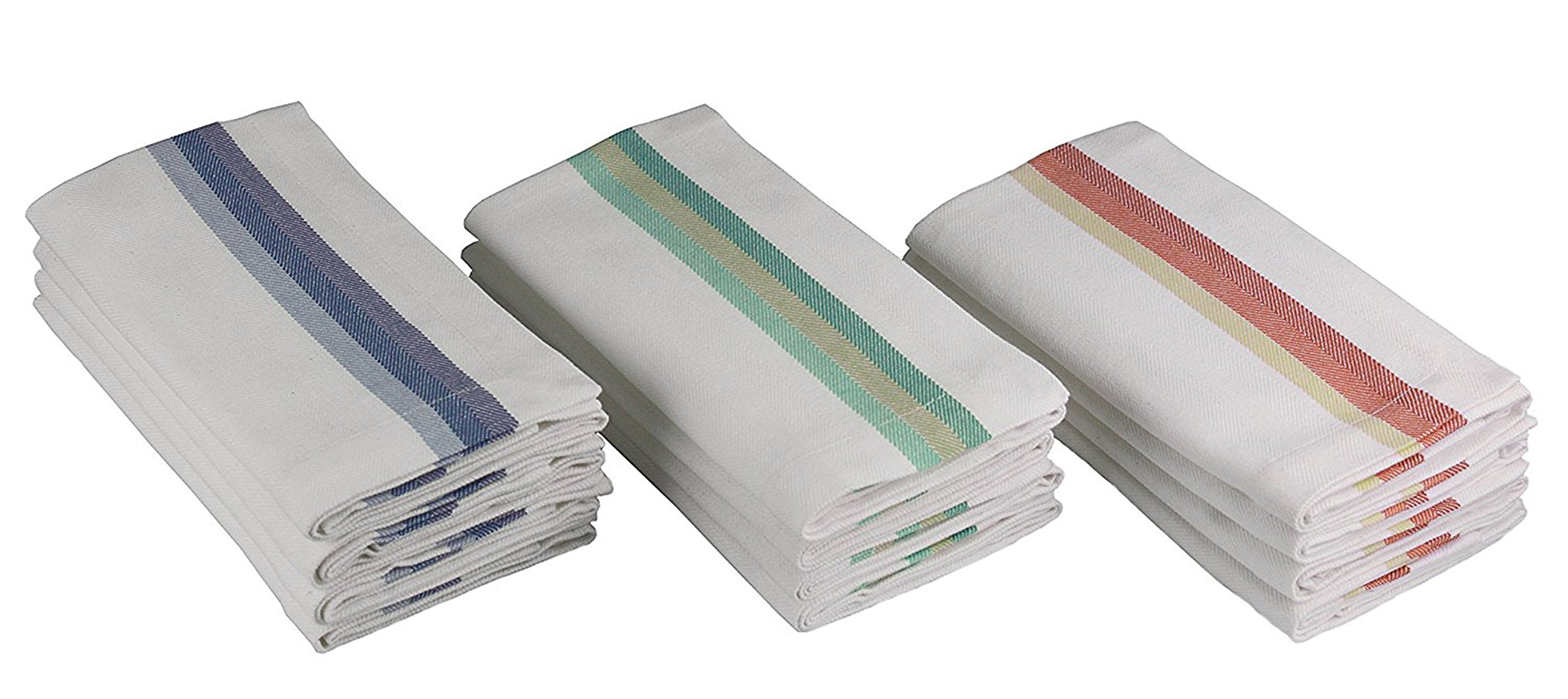 Cotton Craft - Twill Stripe Dinner Napkins - 12 Pack - 100% Cotton - Tailored with Mitered corners