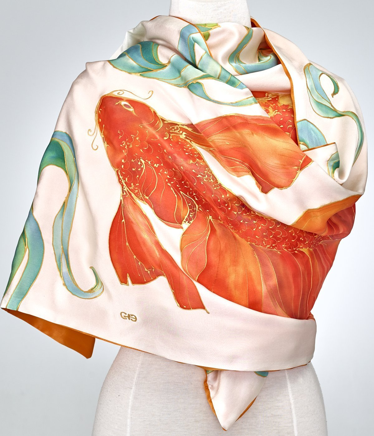Hand Painted Silk Scarf, Silk Shawl Using French Dyes. Orange And Gold Koi Fish On White Silk Charmeuse. by SlikSilk