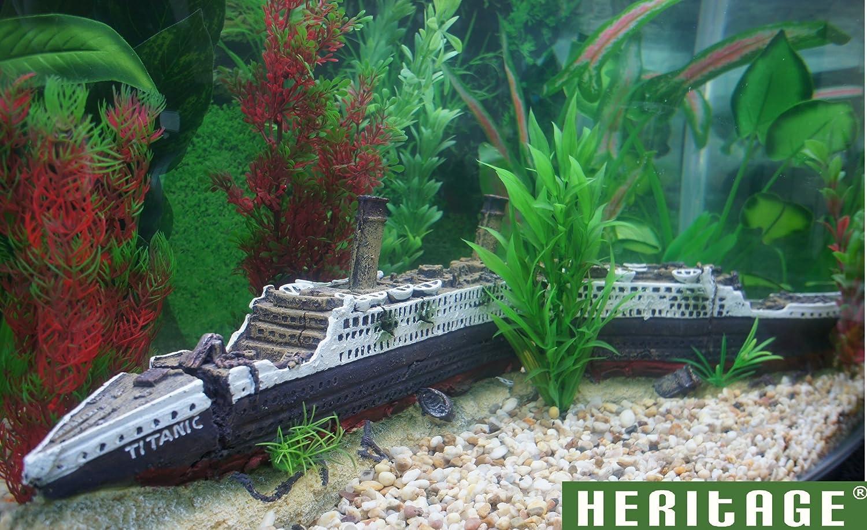 Decoración para acuario Heritage, figura del Titanic hundido, pintada a mano: Amazon.es: Productos para mascotas