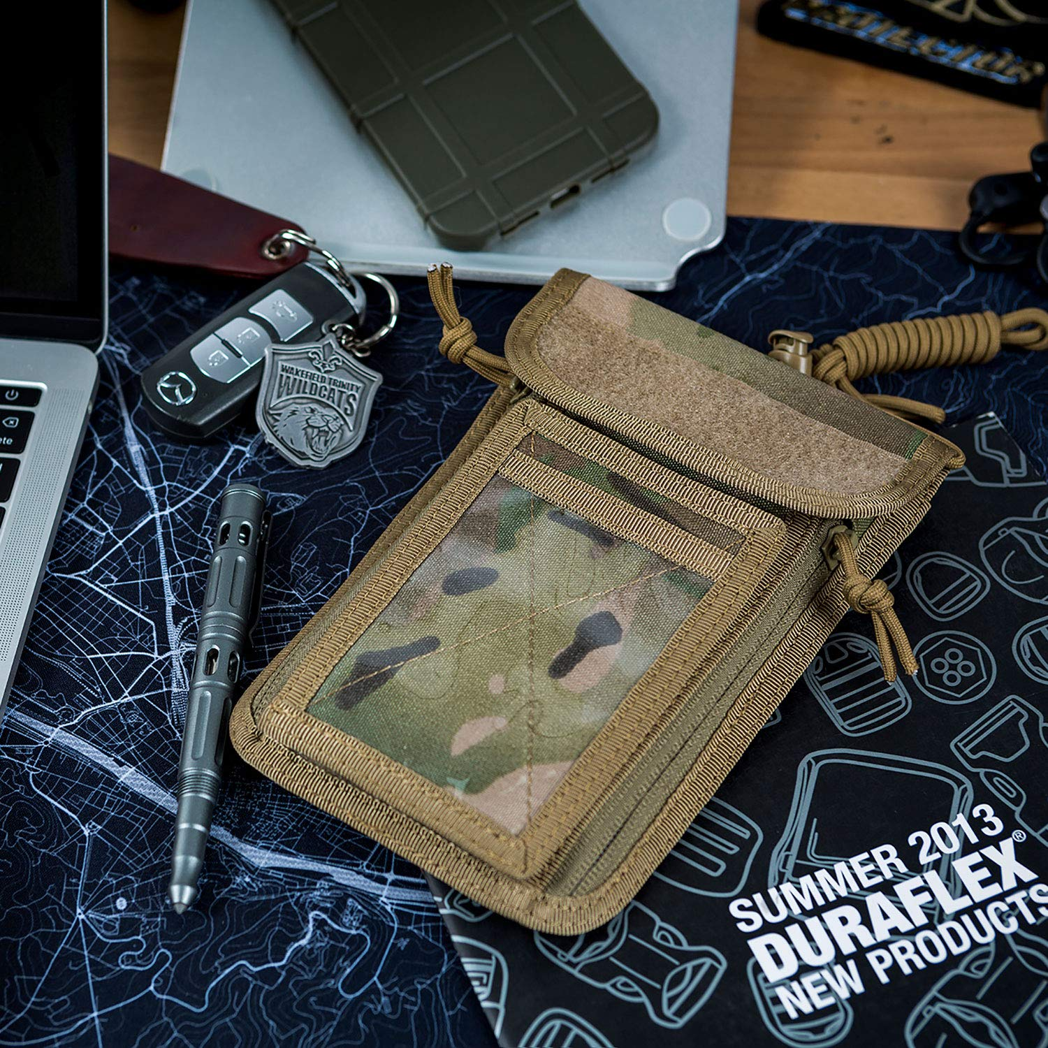OneTigris Passport Holder 500D CORDURA Nylon Tactical Neck Holder for ID Badge and Money for Exhibition Traveling with Adjustable Lanyard