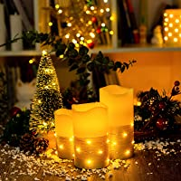 Flickering LED Candle Set with Daily Timer,Flameless Candles,Embedded String Lights Stay Lit,Golden Stripes Decorative…