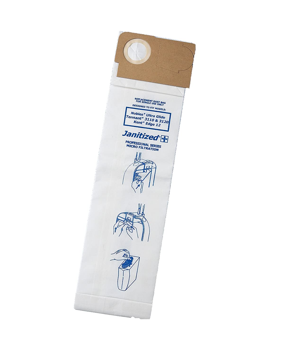 Janitized JAN-NOUG-2(10) Premium Replacement Commercial Vacuum Paper Bag for Nobles Ultra Glide V-DMU-15, Tennant 3110 and 3120, Vacuum Cleaners, OEM#1014505 (Pack of 10)