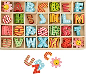 84Pcs Wooden Letters and Flower Set- Assorted Colored Wooden Capital Letters & Flower with Storage Tray - Wooden Alphabet Craft Letters for Arts Crafts DIY Wedding Display Decor