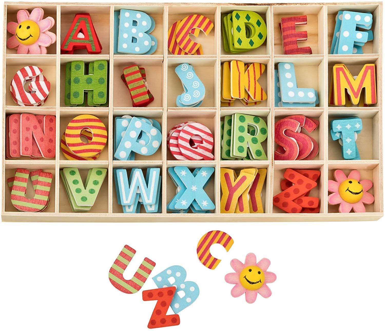 Wooden Letters and Flower Set with Storage Tray Lettere Maiuscole in Legno Alfabeto in legno,Confezione da 112 pezzi