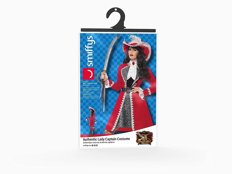 Smiffys Smiffys-45533S Disfraz de capitana auténtica de Lujo, con Vestido, Chaqueta, Corbata y fu Color Rojo S - EU Tamaño 36-38 45533S: Amazon.es: ...