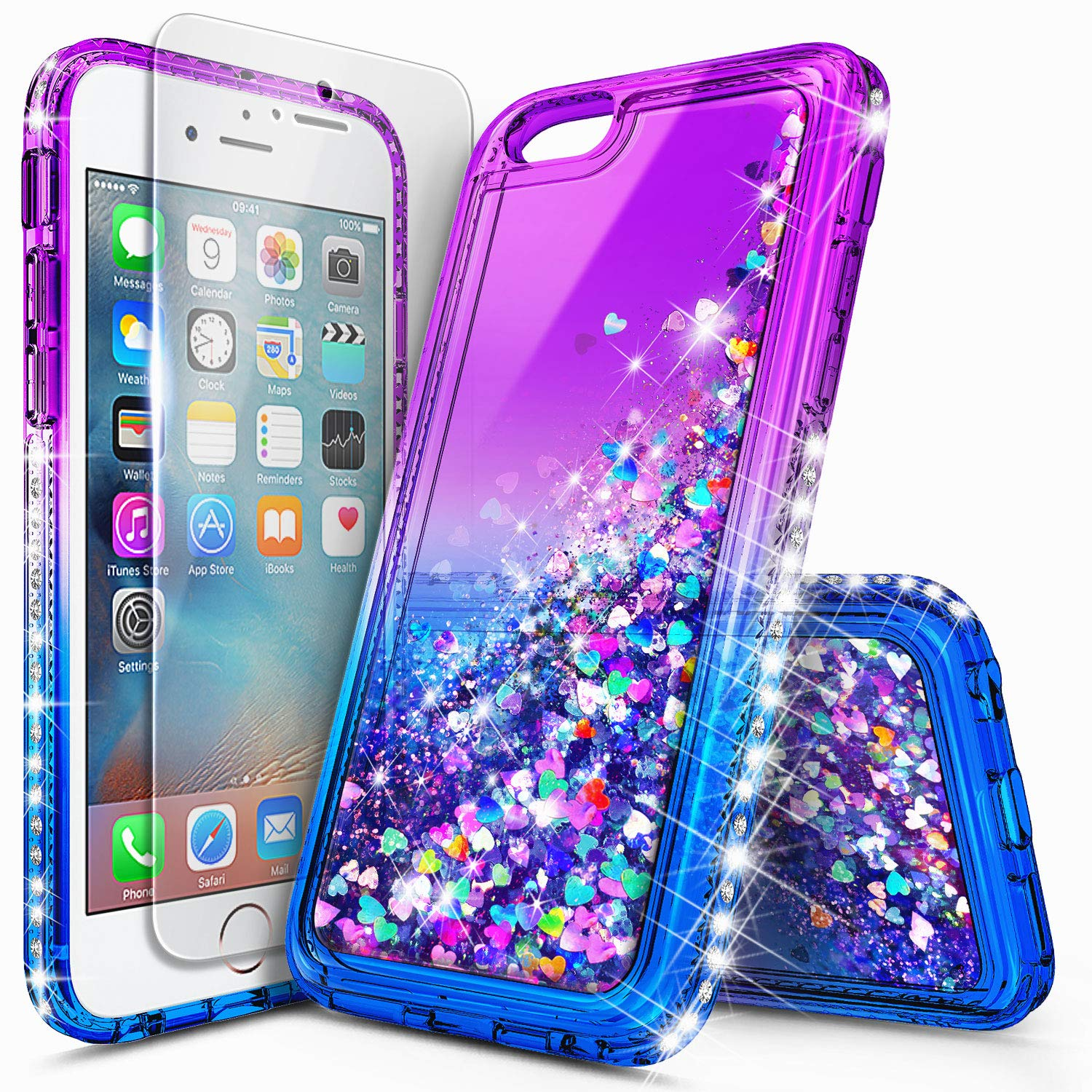 iPhone 5S Case, iPhone SE/iPhone 5 Case w/[Tempered Glass Screen Protector], NageBee Glitter Liquid Quicksand Waterfall Floating Sparkle Bling Diamond Women Girls Kids Cute Durable Case -Purple/Blue