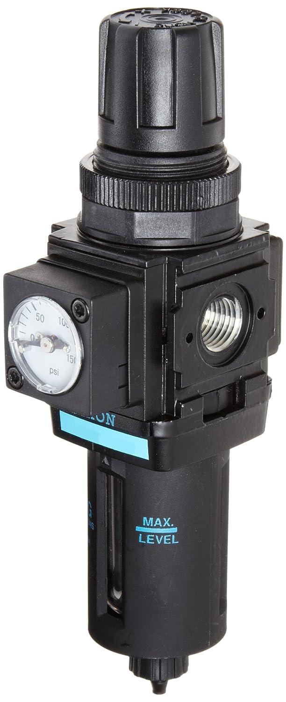Dixon B08-02MG Manual Drain Wilkerson Miniature Filter/Regulator with Transparent Bowl and Guard, 1/4' Size, 42.1 SCFM Flow, 150 psig Pressure