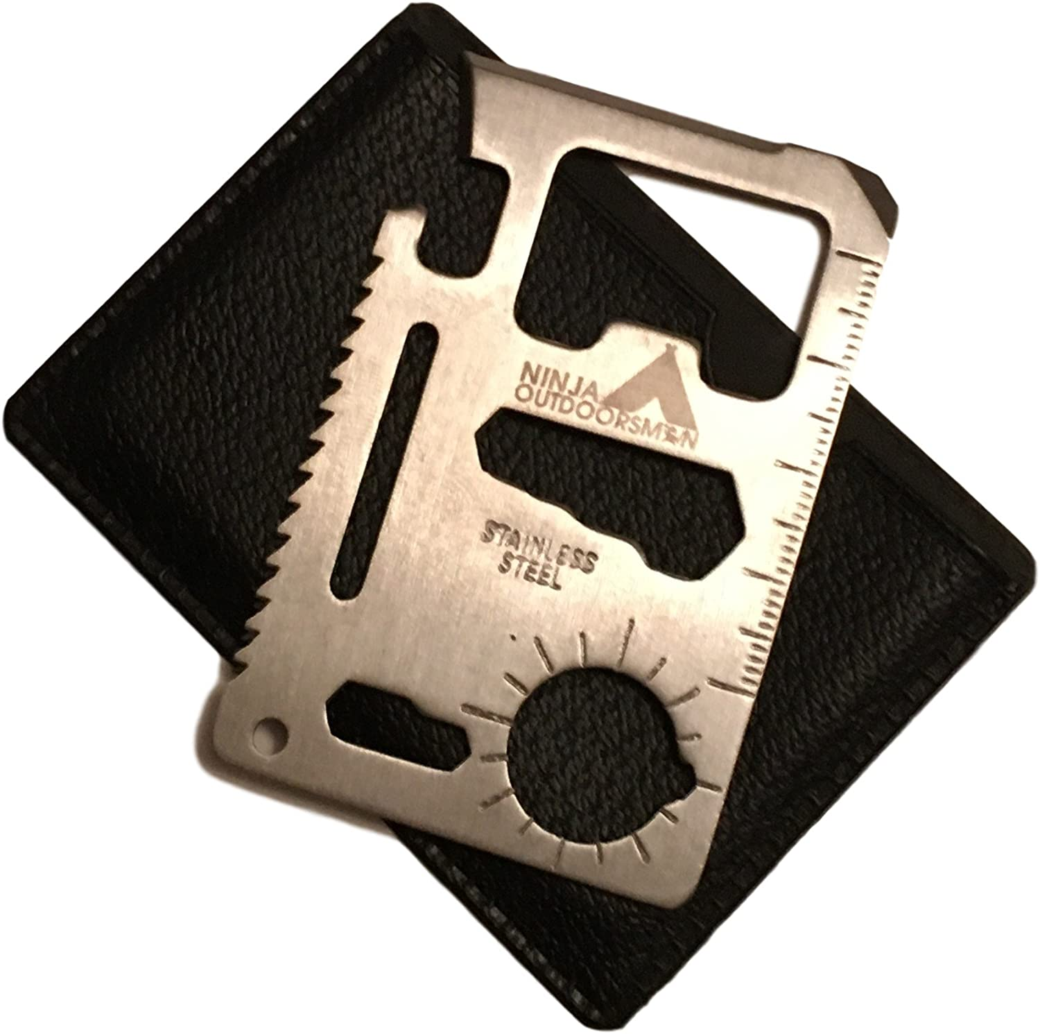 Ninja Outdoorsman 11 in 1 Stainless Steel Credit Card Pocket Sized Survival Multi tool (Single)