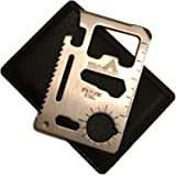 Ninja Outdoorsman 11 in 1 Stainless Steel Credit Card Pocket Sized Survival Multi Functional Tool - Stocking Stuffers, Christ
