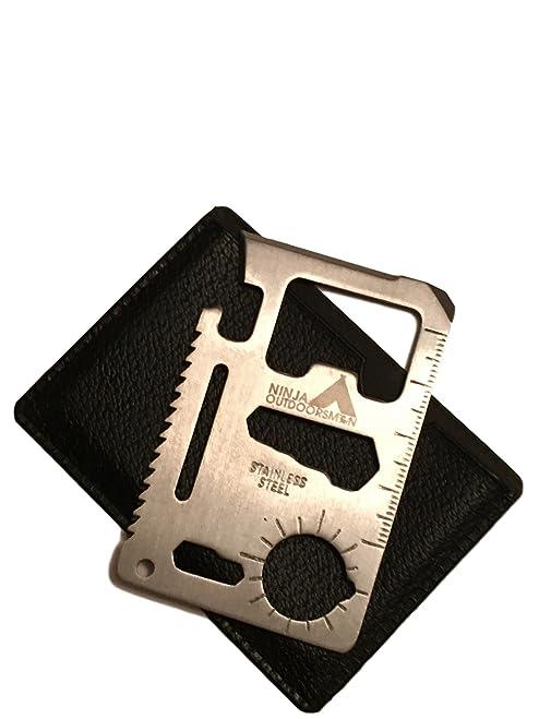 Ninja Outdoorsman 11 in 1 Stainless Steel Credit Card Pocket Sized Survival Multi tool (Single)