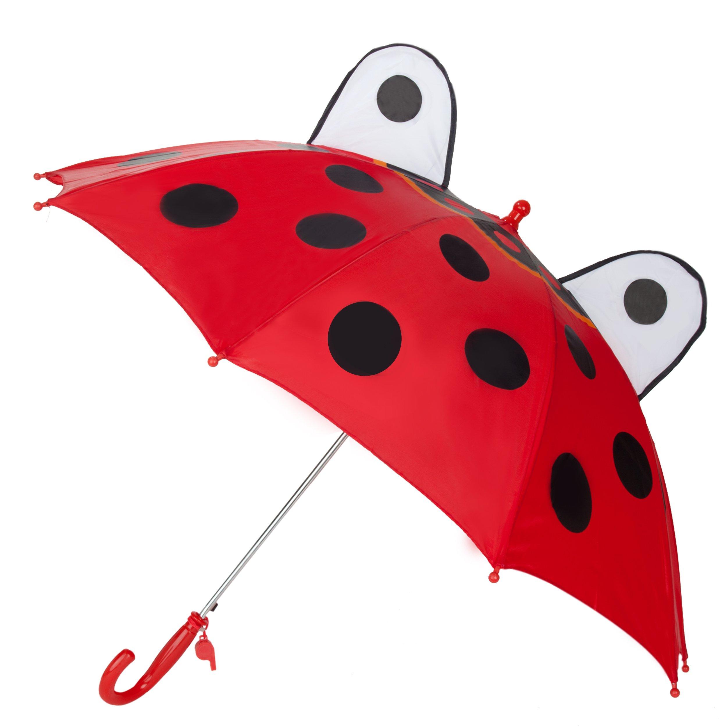 Kid's Fun Adorable Red Ladybug Animal Easy-Open UV Protection Whistle Umbrella