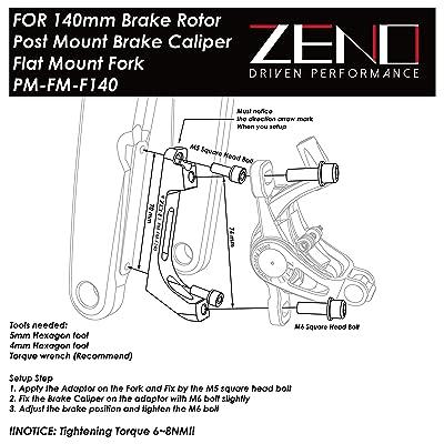 Zeno Rotor Adaptor Postmount Caliper to Flatmount Fork with 160mm Rotor