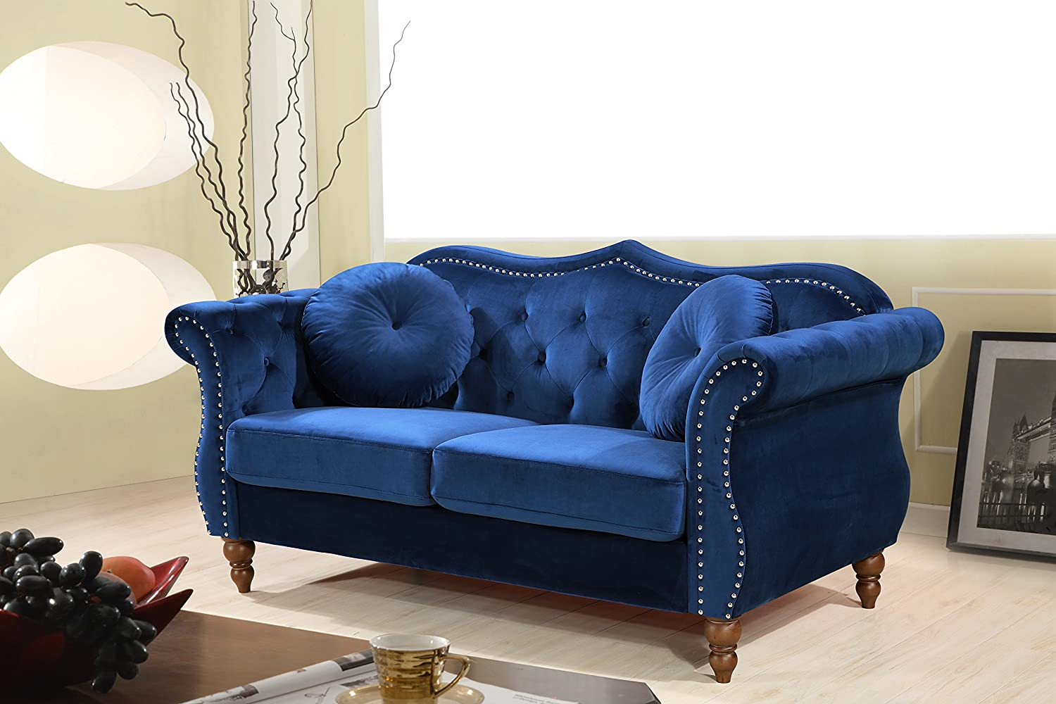 Amazon com container furniture direct s5365 l anna1 loveseat blue kitchen dining