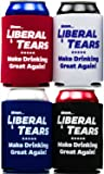 America Firsts Mmm...Liberal Tears: Make Drinking Great Again Drink Insulators 4 Pack. Funny Beer Can Covers Are a Hilarious Gag Gift & Novelty Present. Coolers for Men & Women.
