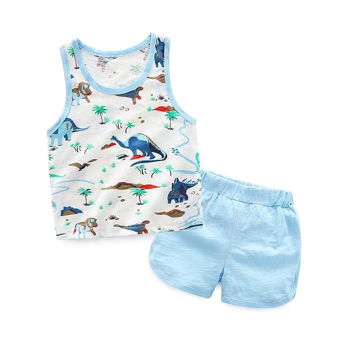 FYX 2 Pcs Camiseta sin Manga Algodón Infantil + Pantalones Cortos Camiseta  Casual para Bebé Niño 493e9807761
