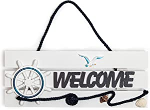 Juvale Nautical Welcome Sign for Boat Wall Decor (11 x 4.5 in)