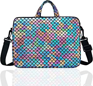 "14-Inch Laptop Shoulder Carrying Bag Case Sleeve For 13"" 13.3"" 14 inch Macbook/Notebook/Ultrabook/Chromebook, Mermaid Scale (Colorful)"