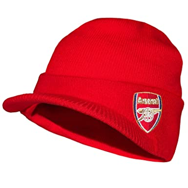 25f06ec75a2 Arsenal FC Official Football Gift Adults Knitted Peaked Beanie Hat Red   Amazon.co.uk  Clothing