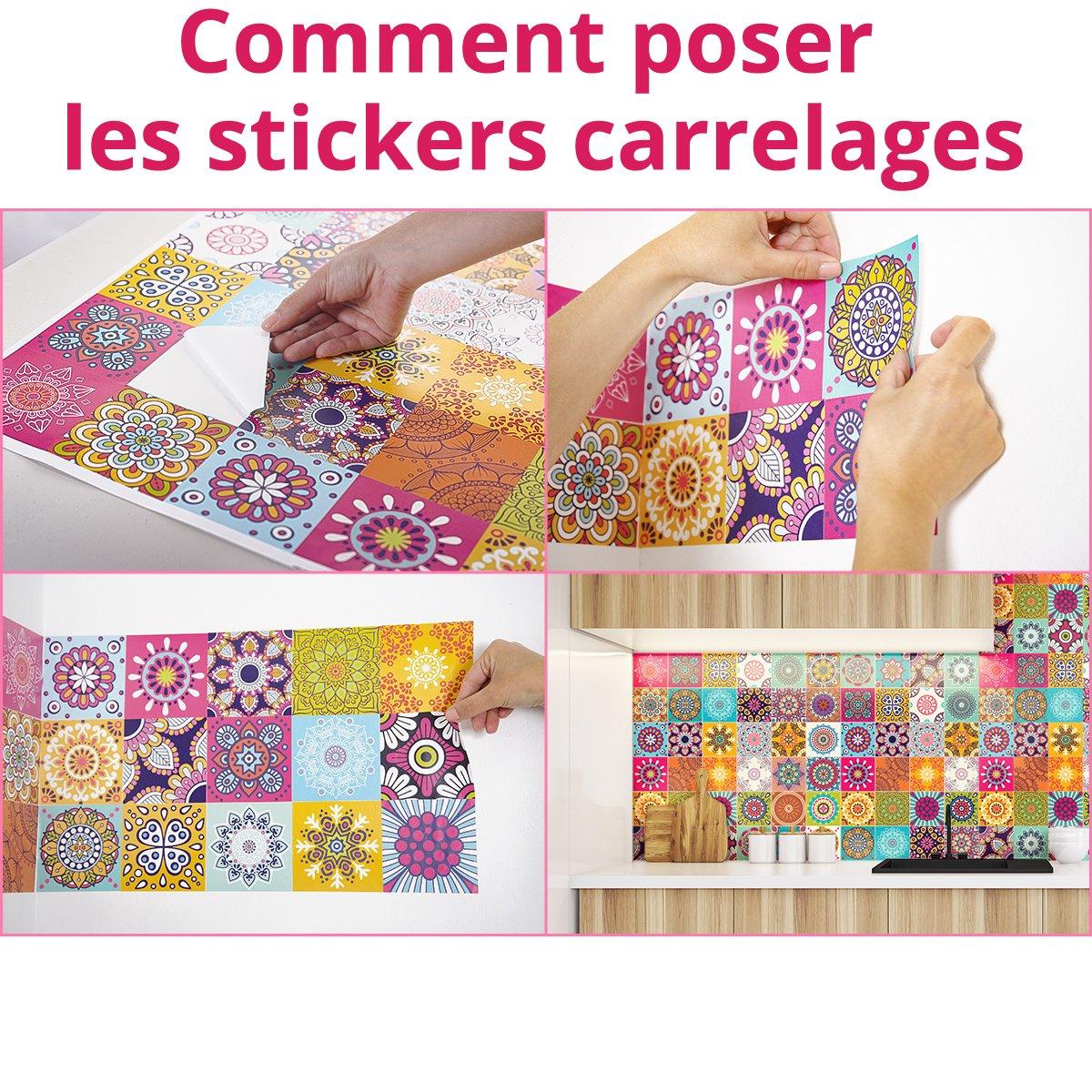 Stickers adh/ésifs carrelages muraux azulejos 10 x 10 cm 60 pi/èces