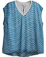 Calvin Klein Womens Striped Top Blue White XL