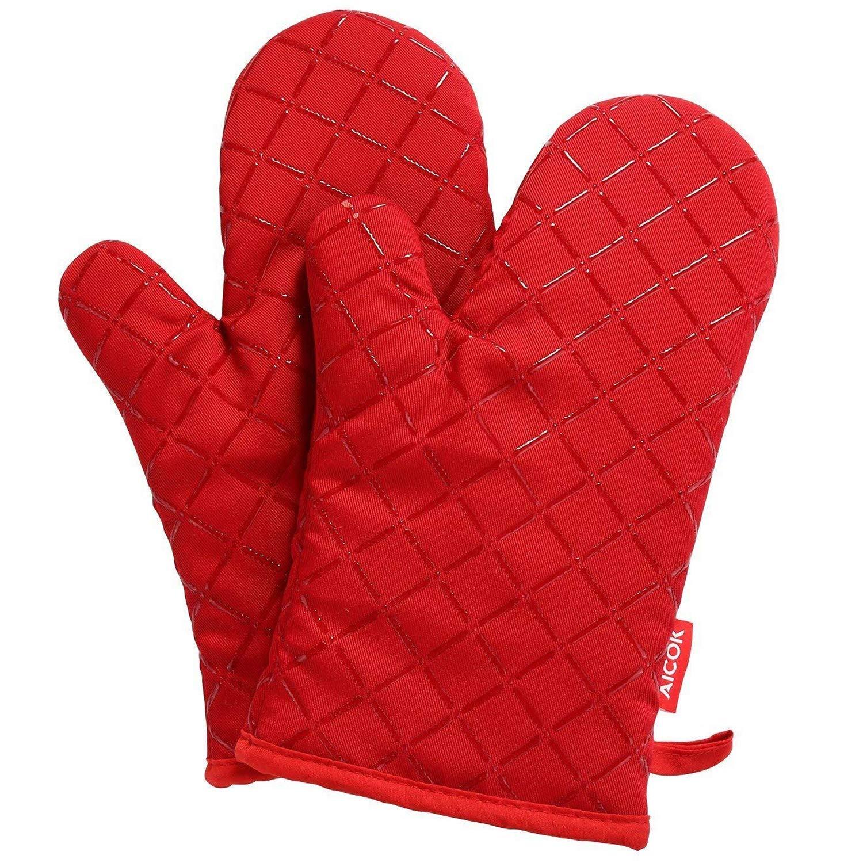 Aicok Guantes de Horno de Silicona Antideslizantes, hasta 240 ℃, Rojo, 1 par