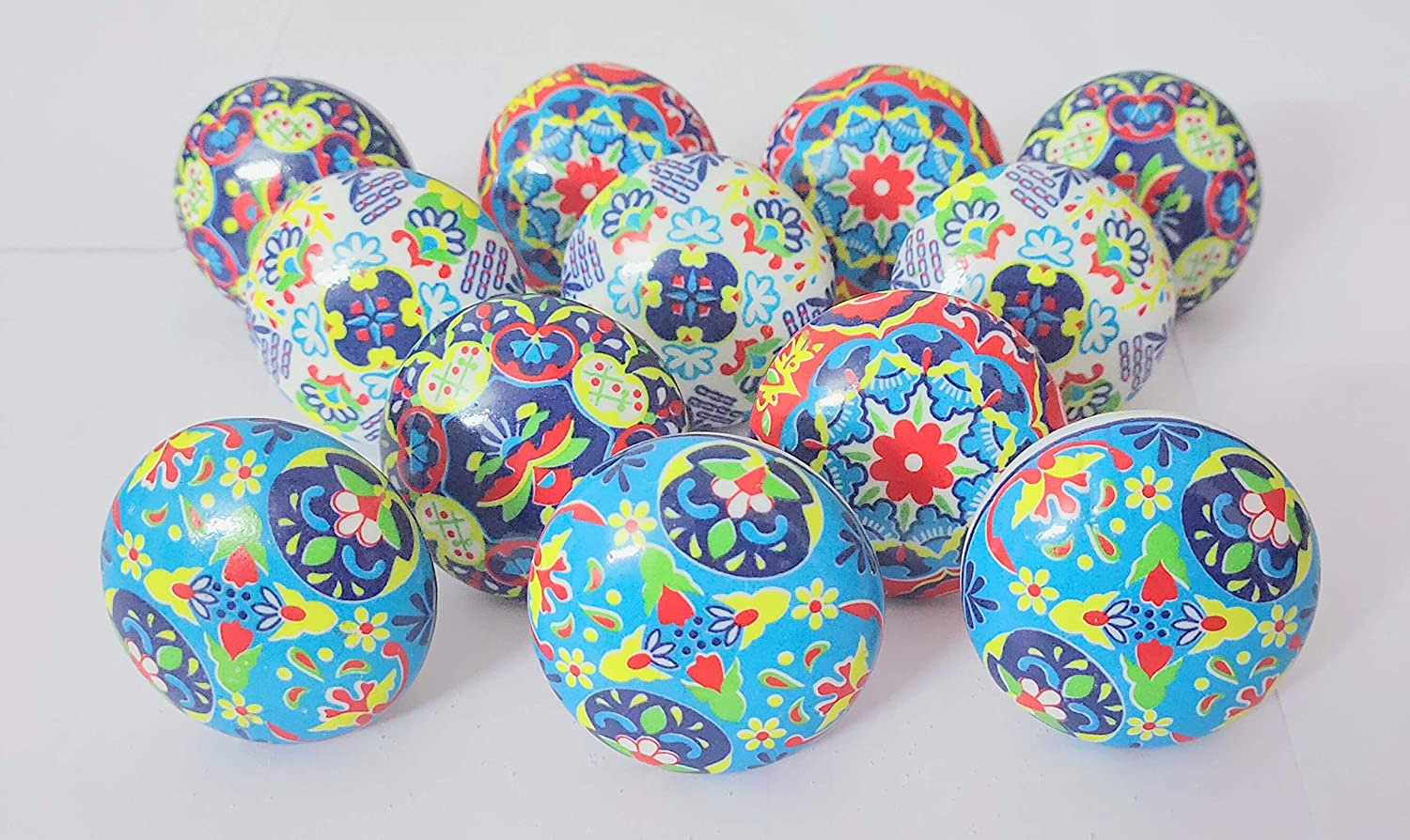 Knobs Set of 12 Ceramic Knobs Handpainted Heritage Boho Color Cabinet and Furniture Knobs Door Knobs with Proper Hardware Fitting