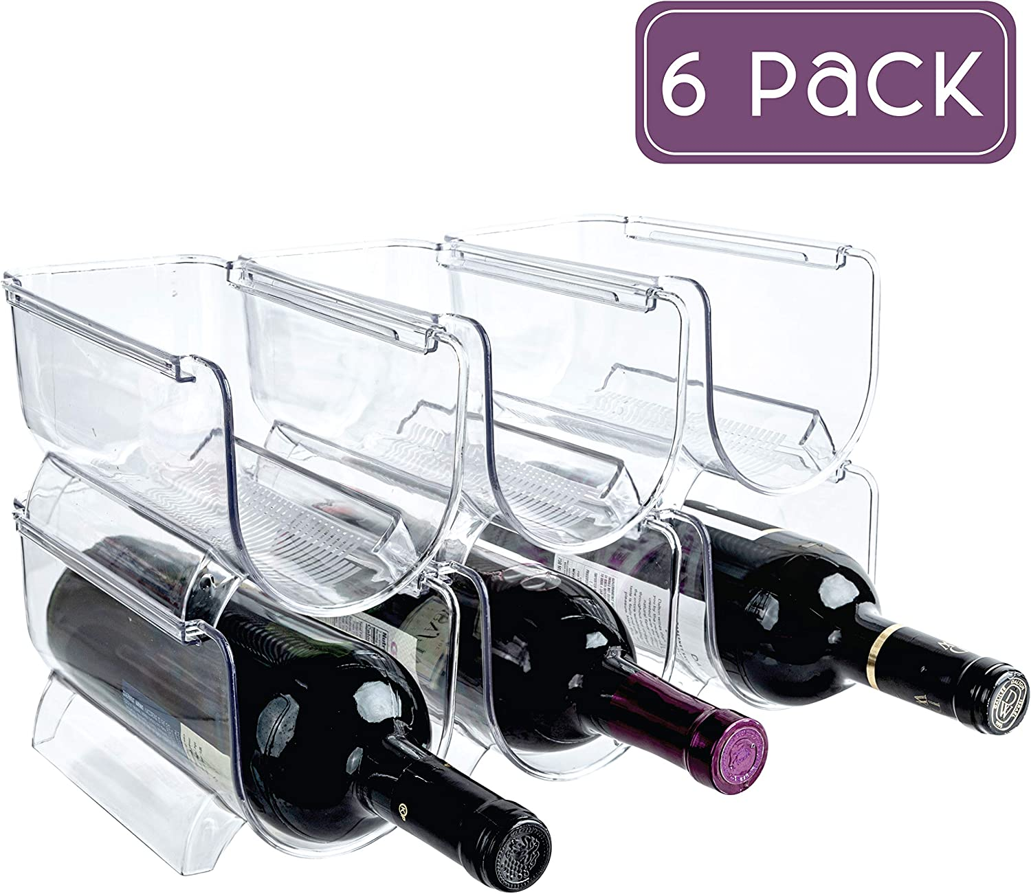 Homeries Wine & Water Bottle Organizer Holder (Set of 6) Stackable Wine Rack for Kitchen Countertops, Table Top, Pantry, Fridge, Bars – Acrylic, Free Standing Wine Shelf – Holds Beer, Pop, Soda & Cans
