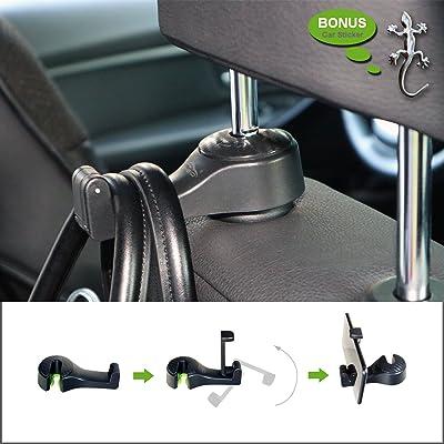 AMEIQ Car Backseat Hanger, Phone Holder, Universal Seat Back Headrest Hook for Bag Purse Cloth Groceries, Black (2 Pack): Automotive