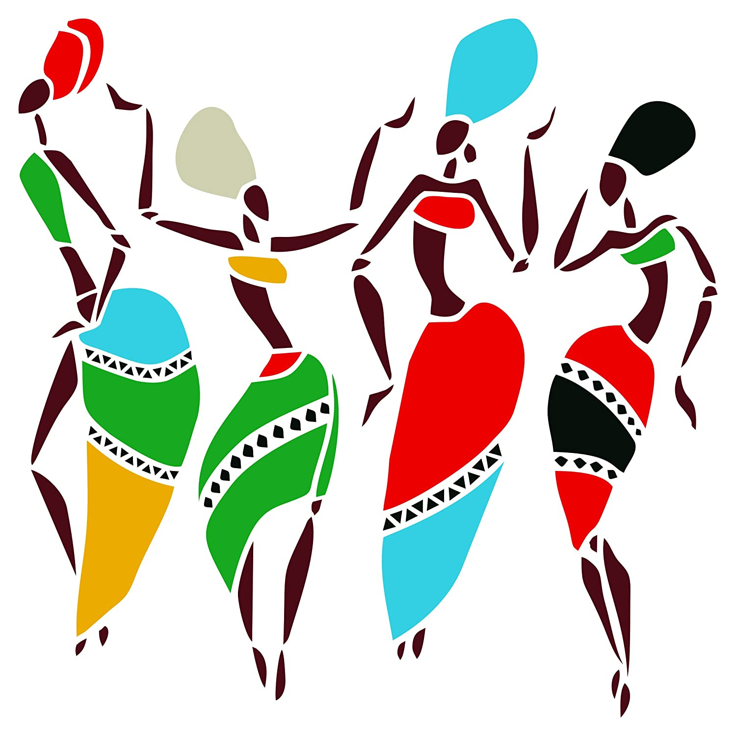 African Dancers Stencil - 25.5 cm x 25.5 cm(L) - Reusable Women Lady Dancers Ethnic Tribal Wall Stencils for Painting - Use on Poster Scrapbook Journal Walls Floors Fabric Furniture Glass Wood etc. Stencil Company