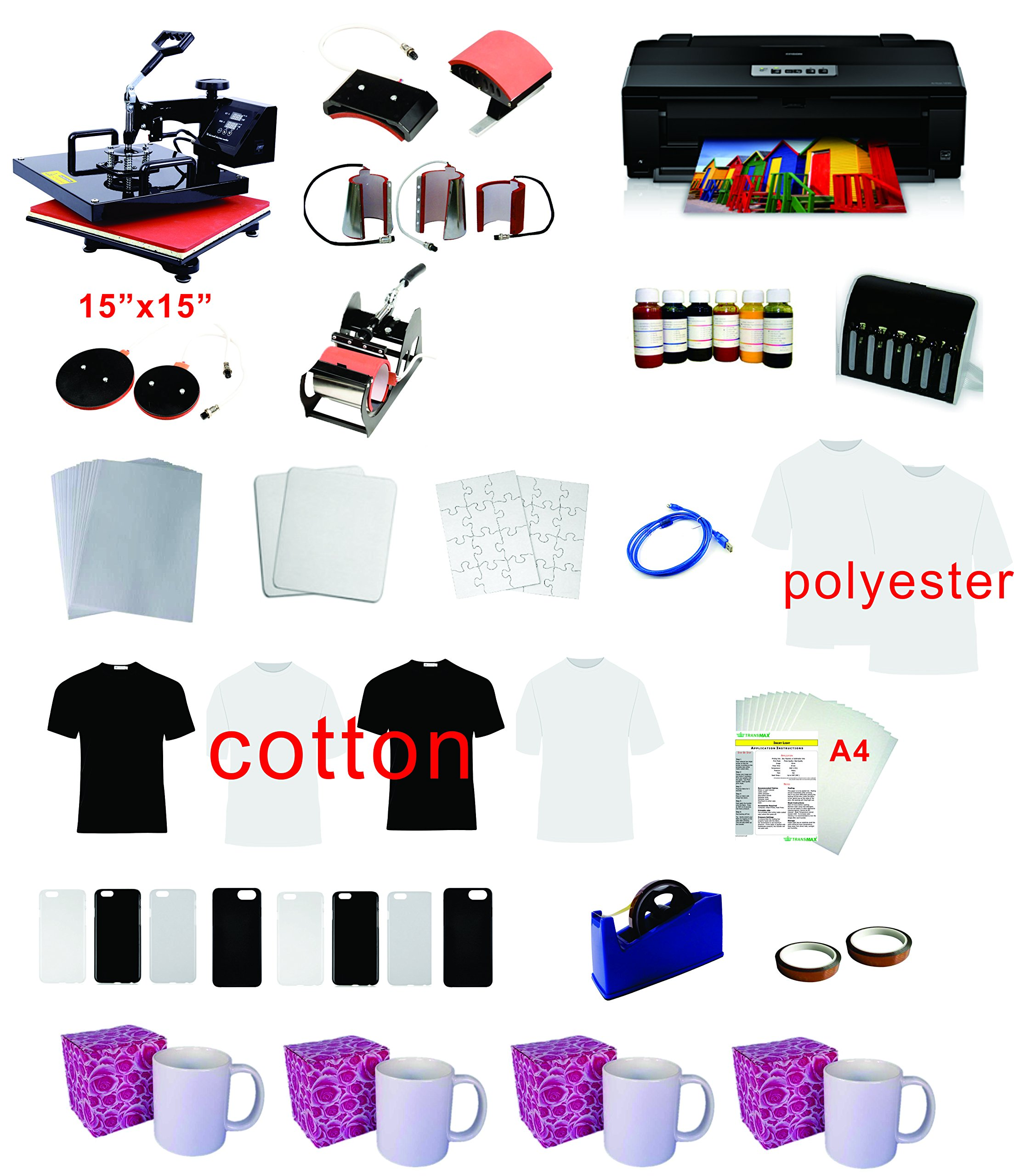 8in1 15''x15'' Pro Sublimation Heat Transfer Machine Epson Printer 1430 CISS KIT by TRANSFER WORLD