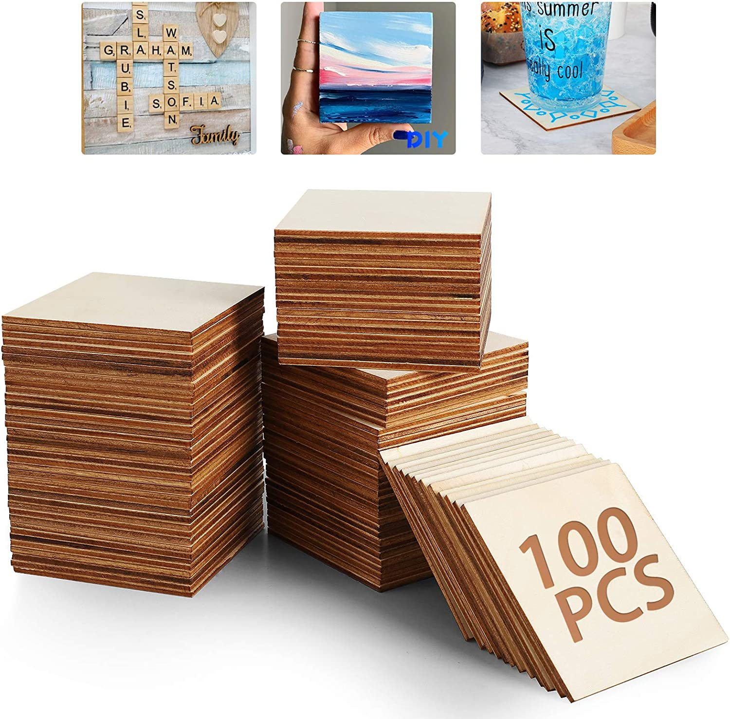 Unfinished Wood Board - 100Pcs 3 x 3in Blank Natural Slices Wood Square for DIY Crafts Painting, Scrable Tiles, Coasters, Pyrography, Decorations