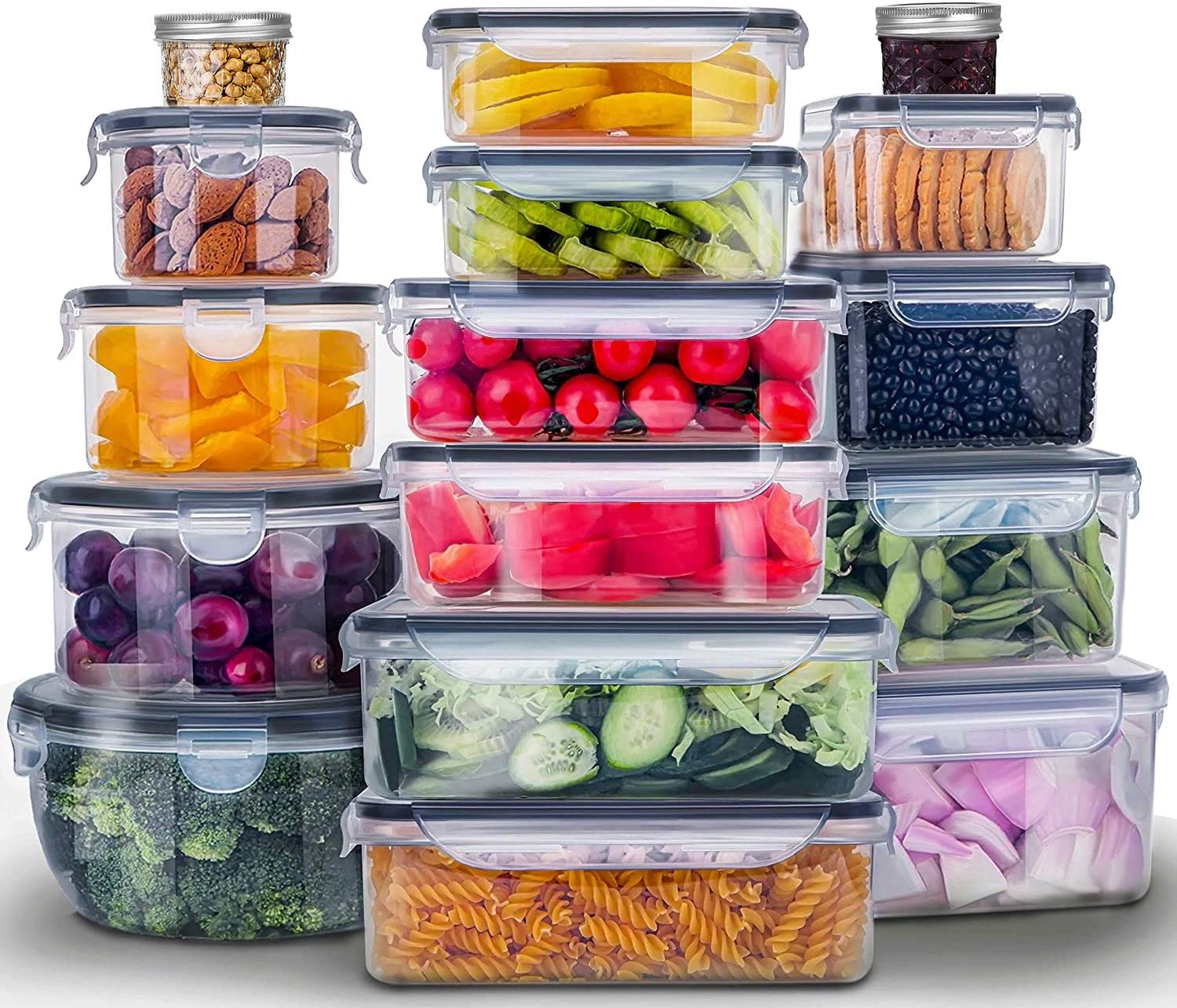 32 Pieces Food Storage Containers With Lids(Plastic Containers + Mason Jars) BPA-Free & Leak Proof Food Container Set Plastic Meal Prep Containers Airtight Glass Lunch Boxes With 2 Pack Canning jars
