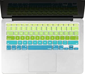 Kuzy - MacBook Keyboard Cover for Older Version MacBook Pro 13, 15, 17 inch and MacBook Air 13 inch, iMac Wireless Keyboard, Apple Computer Accessories Key Board Silicone Skin Protector - Ombre Green