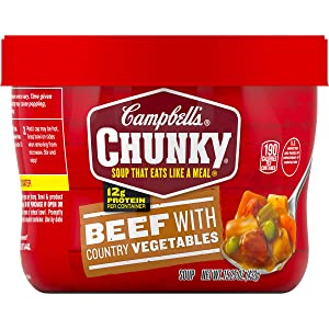 Campbell's Chunky Microwavable Soup, Beef with Country Vegetables Soup, 15.25 oz Bowl, Pack of 8