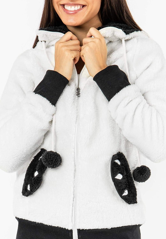 Veste Femmes Veste D/'Hiver Parka Noir Teddy Doublure Veste avec capuche d-388