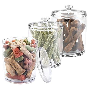mDesign Juego de 3 contenedores para pienso - Práctica caja con tapa para comida para perros y gatos - Caja para pienso pequeño y golosinas para mascotas ...