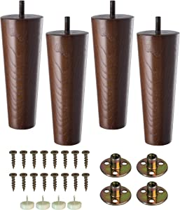 Wood Furniture Sofa Legs 6 Inch Set of 4 for Couch Cabinet Chair Black Replacement Extenders with Hardware Kit Attachment Mounting Plates 5/16 Bolts and Screws | Easy to Install