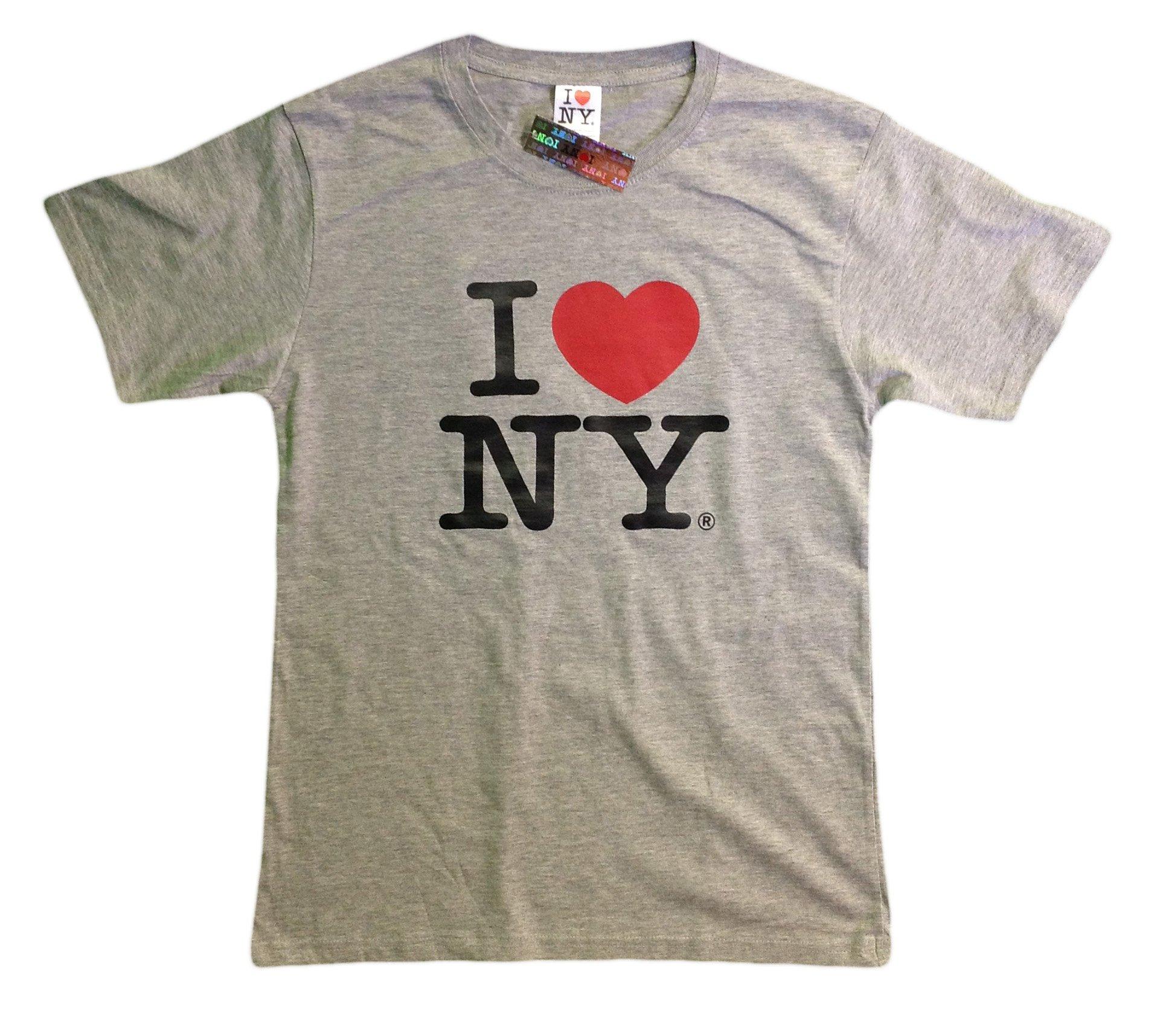 I Love NY New York Short Sleeve Screen Print Heart T-Shirt Gray Large