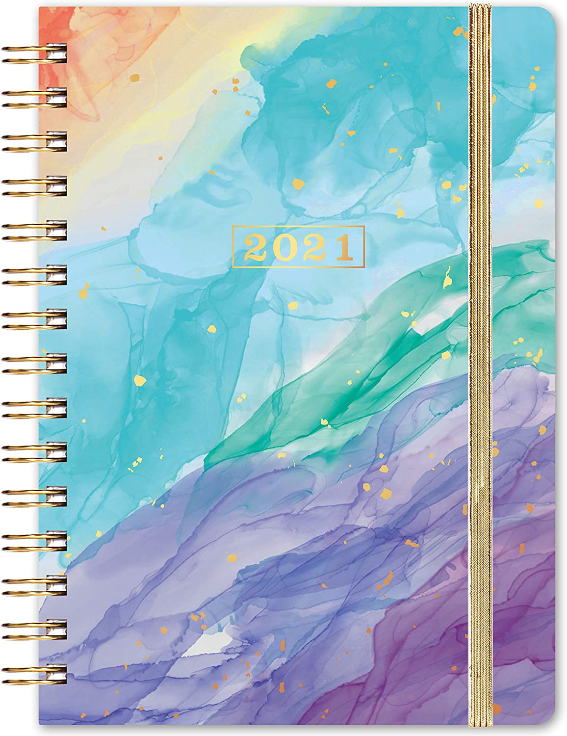 """2021 Planner - Weekly & Monthly Planner with Tabs, 6.3"""" x 8.4"""", Jan. - Dec. 2021, Flexible Cover Planner with Elastic Closure + Thick Paper + Coated Tabs + Inner Pocket"""