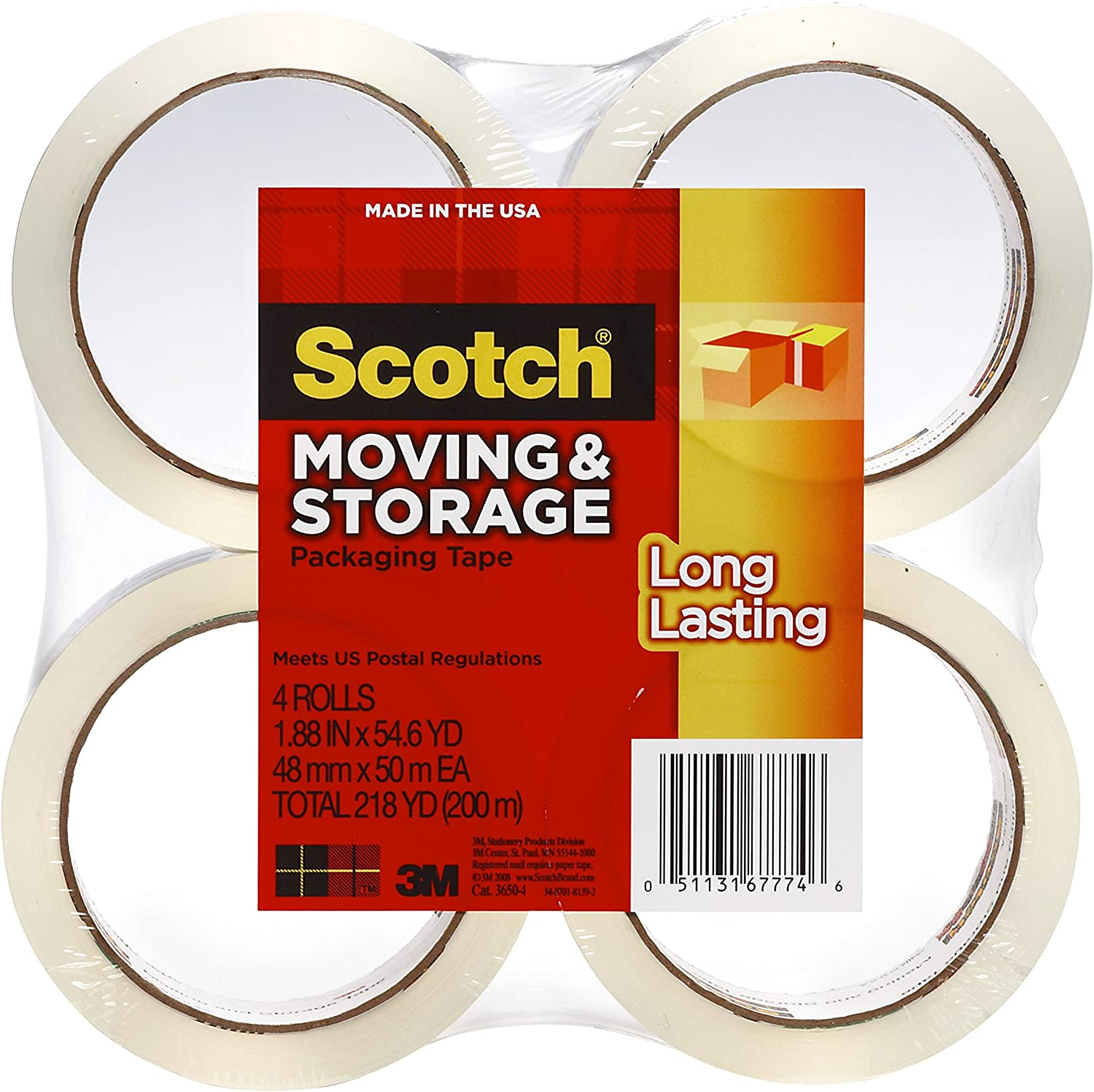 6 Rolls 1.88 Inches x 54.6 Yards Туц Long Lasting Storage Packaging Tape 3650-6