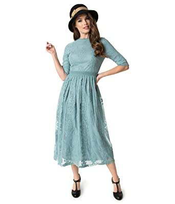 2eb60b9fff28 Image Unavailable. Image not available for. Color: Vintage Style Sage Blue  Embroidered Lace Modest Midi Dress