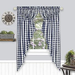 "Achim Home Furnishings Buffalo Check Gathered Swag Window Curtain Pair, 72"" x 63"", Navy, Navy & Ivory"