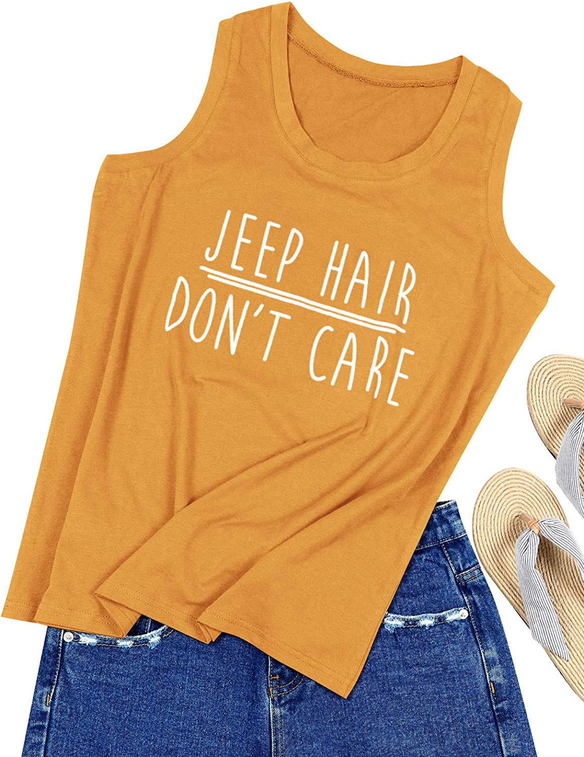OUNAR Women Jeep Hair Don't Care Tank Top Casual Muscle Tee Graphic Top