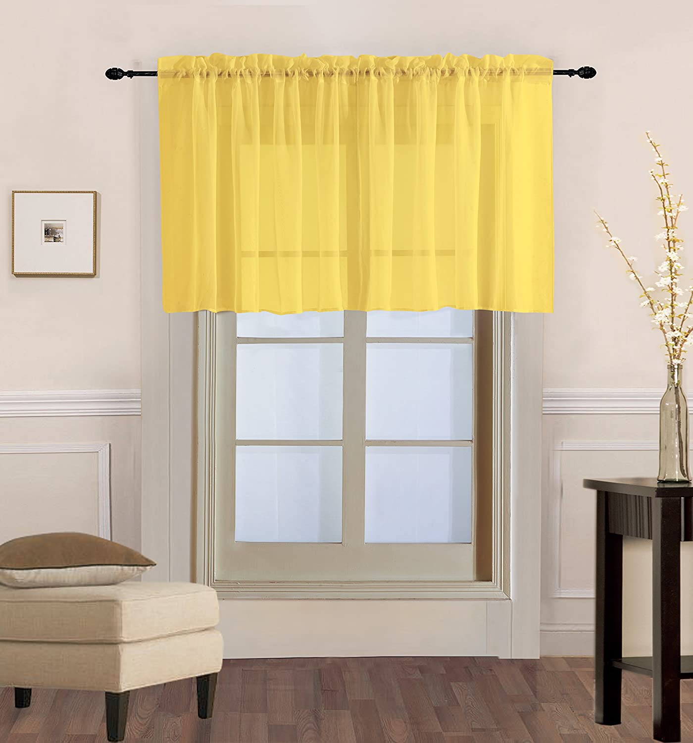 "Decotex 1 Piece Sheer Voile Rod Pocket Multi Use Straight Window Curtain Valance Topper Available In a Variety Of Colors (55"" X 36"", Yellow)"