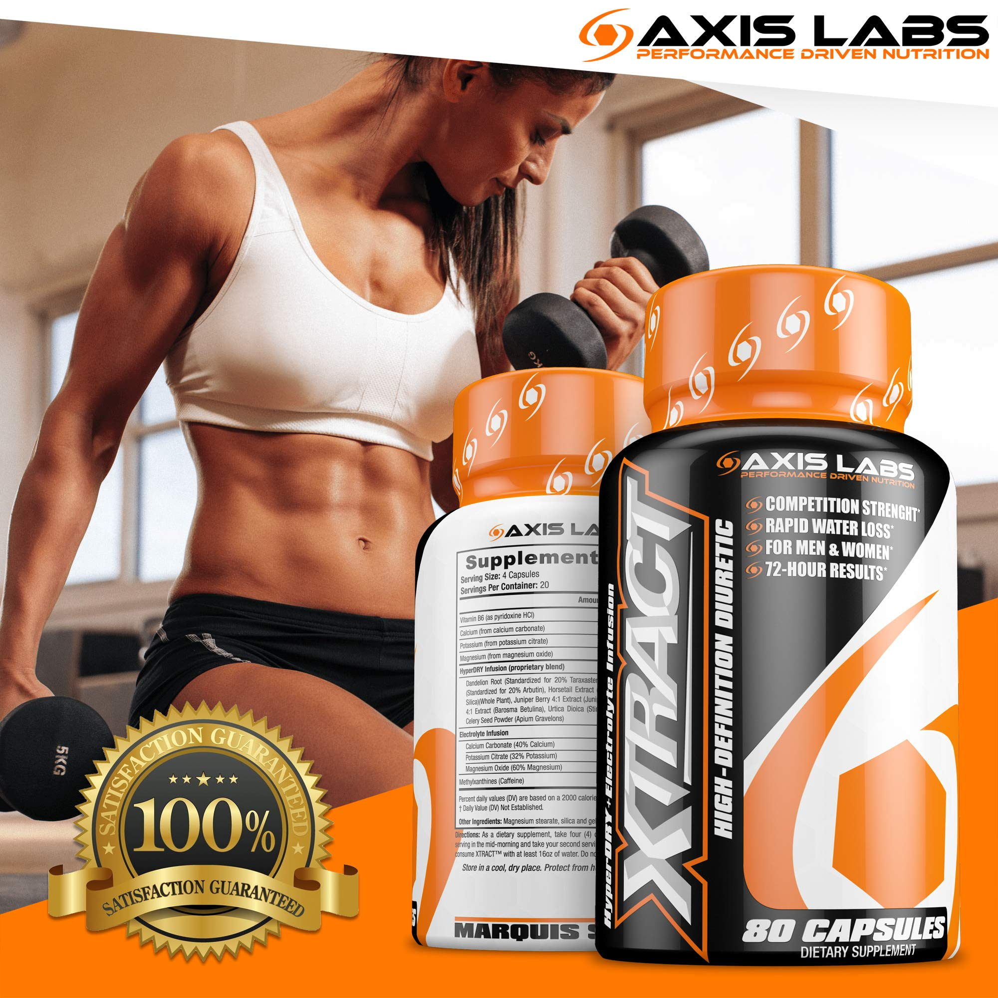 Axis Labs | Xtract High-Definition Diuretic | Rapid Water Loss | Reduce Bloating | Competition Strength for Men and Women | Bodybuilders and Fitness Models | 20 Servings Per Bottle | 80 Capsules by Axis Labs (Image #5)