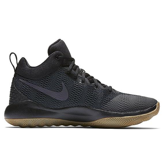 Nike Men's Zoom Rev 2017 Basketball Shoe BLACK/ANTHRACITE-GUM LIGHT BROWN  UK 12